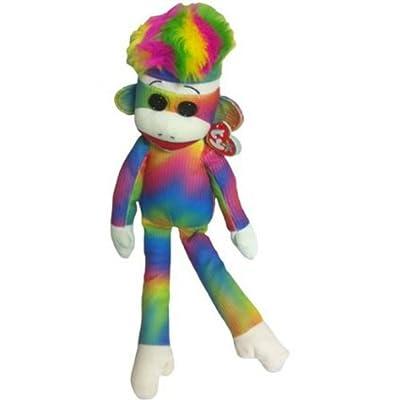 Ty Beanie Buddy Rainbow Sock Monkey Plush - Multicolored: Toys & Games