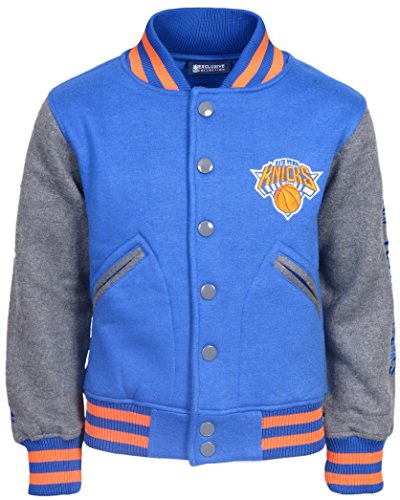 fan products of 'Majestic Boys' NBA Basketball Snap Button Jacket with Snaps and Fleece Sleeves, New York Knicks, Youth Large 14/16'