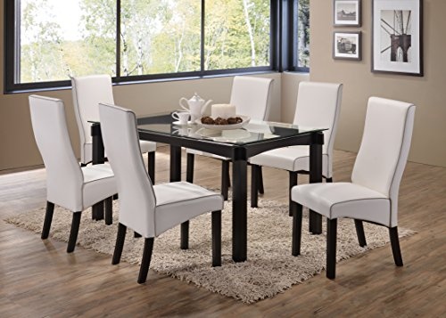 Kings Brand 7-Piece Cappuccino Finish Wood With Glass Dining Kitchen Dinette Table & 6 Chairs, White (6 Glass And Chairs Dining Table White)