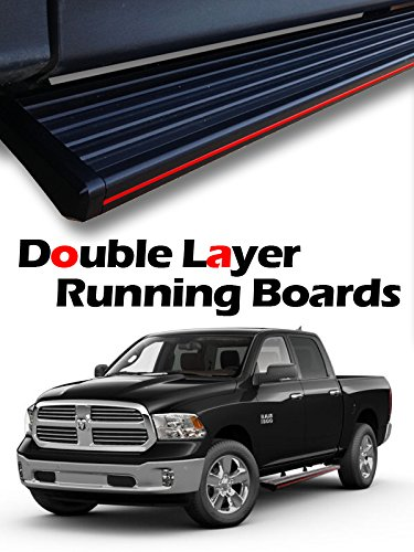 "MPH Auto 5.5"" Wide Stylish Running Boards Custom Fit 2009-2018 Dodge Ram 1500 Crew Cab / 2010-2018 Ram 2500/3500 Crew Cab Black Side Step Bar (2pcs Mounting Brackets) mj-038-r"