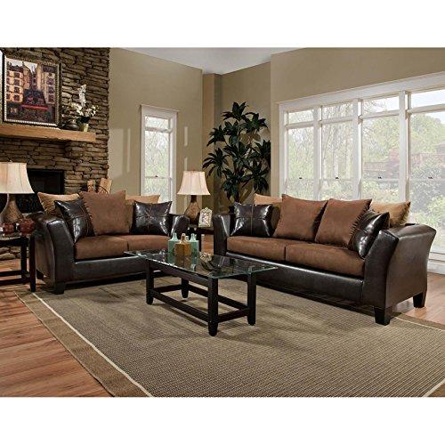 (StarSun Depot Riverstone Sierra Chocolate Microfiber Living Room Set 62