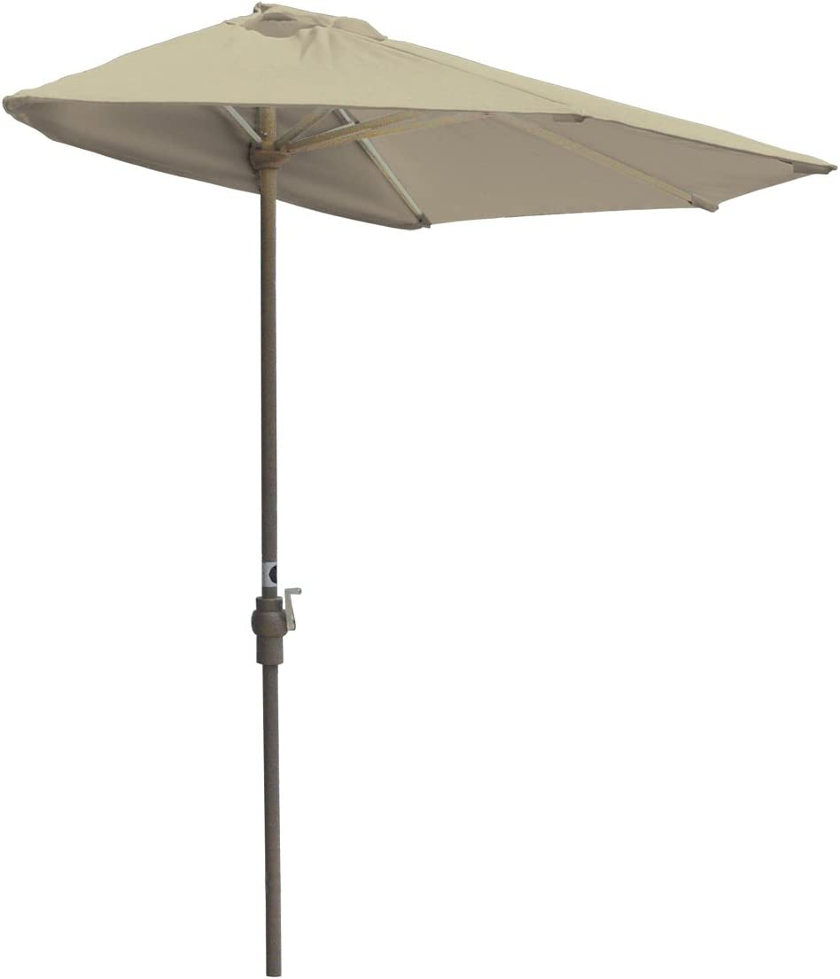 Blue Star Group Off-The-Wall Brella Sunbrella Half Umbrella, 9 -Width, Antique Beige