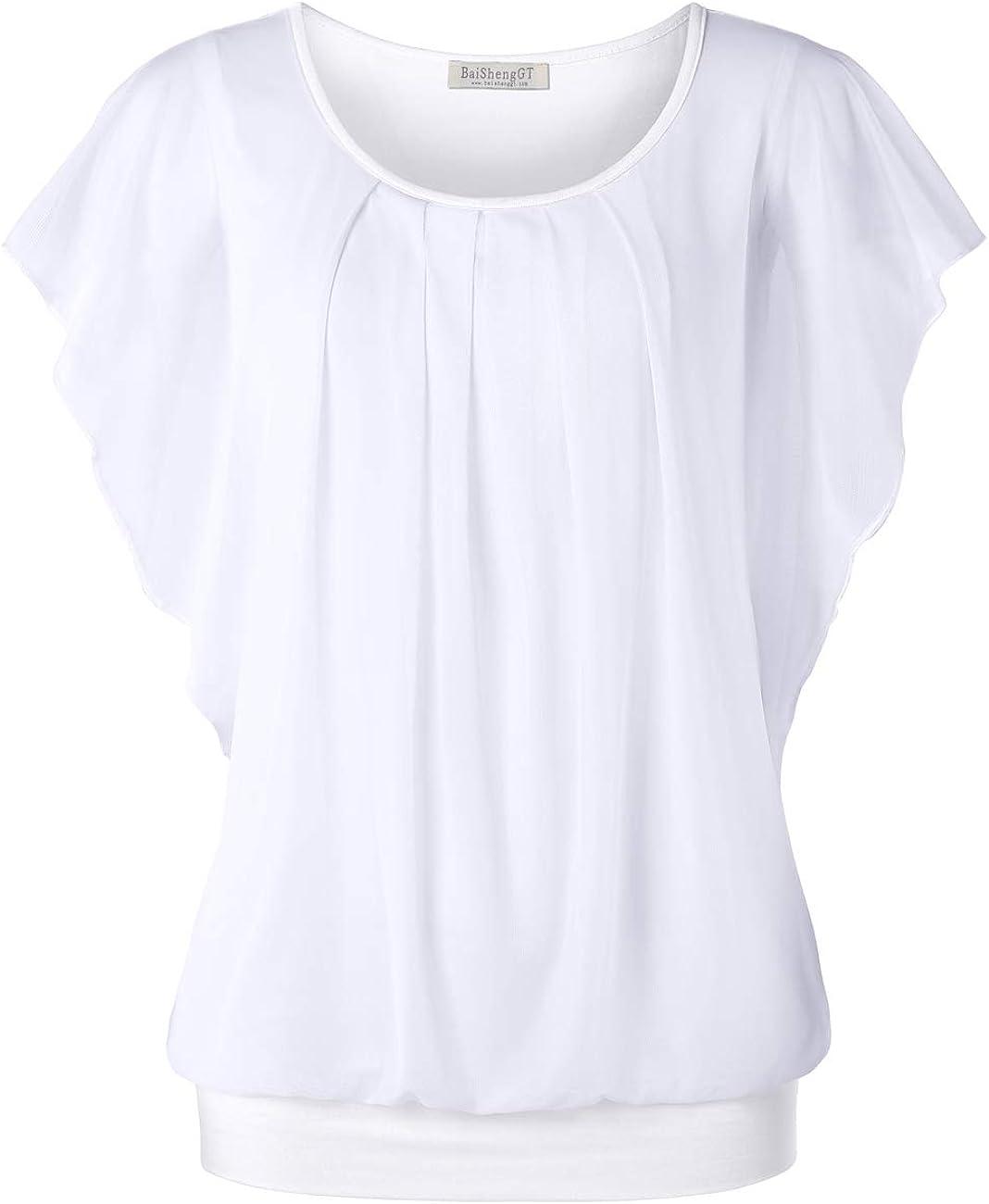 BAISHENGGT Damen Falten Kurzarm Tunika Batwing Rundkragen Bluse: Amazon.de: Bekleidung - Tunika weiss