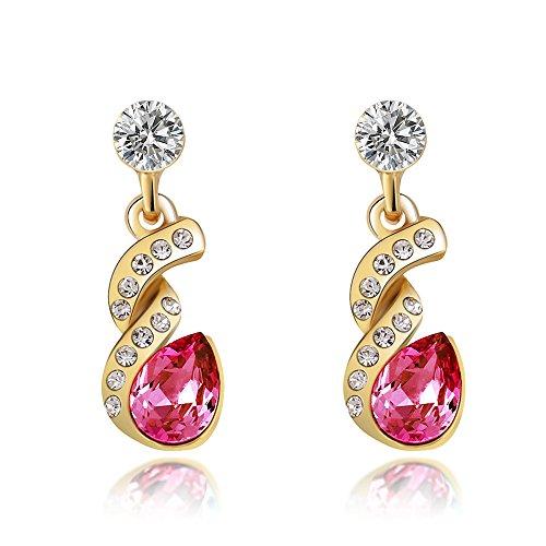(St.Ushine Pear Shape Halo Teardrop Cubic Zirconia Twist Design Dangle Earrings Fashion Jewelry Gift (1 Pair of Earrings- Hot Pink Color))
