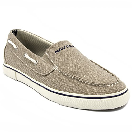 Nautica Deck Shoes - Nautica Men's Doubloon Boat Shoe Slip-On Loafer-Washed Burlap-11