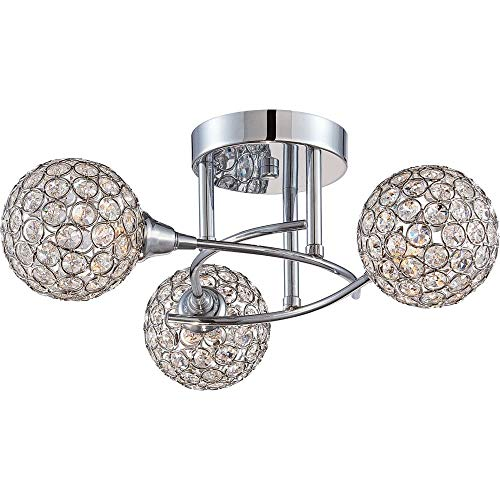 Quoizel PCSR1716C Shimmer Crystal Semi-Flush, 3-Light, Xenon 120 Watts, Polished Chrome (7