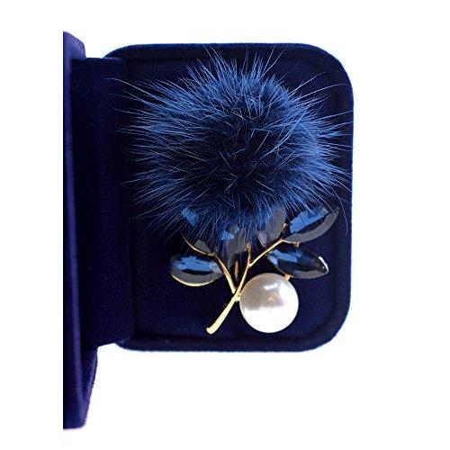 Rhinestone encrusted,Hairball,pearl Fashion Brooch. (Blue) ()