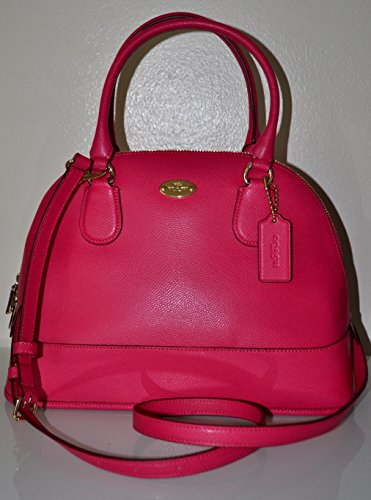 Coach Cross-grain Pink Ruby Leather Cora Domed Satchel