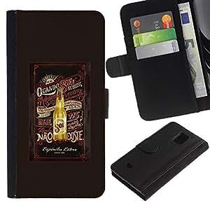 Billetera de Cuero Caso Titular de la tarjeta Carcasa Funda para Samsung Galaxy S5 Mini, SM-G800, NOT S5 REGULAR! / Beer Brown Summer Drink Bottle / STRONG
