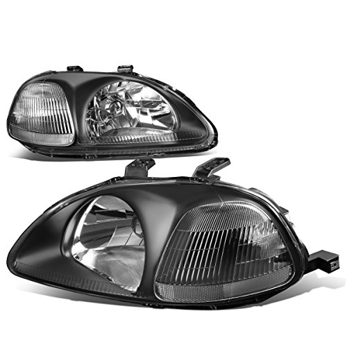 For Honda Civic EJ EM EK Pair of Black Housing Clear Corner Headlight W/Corner Lamps
