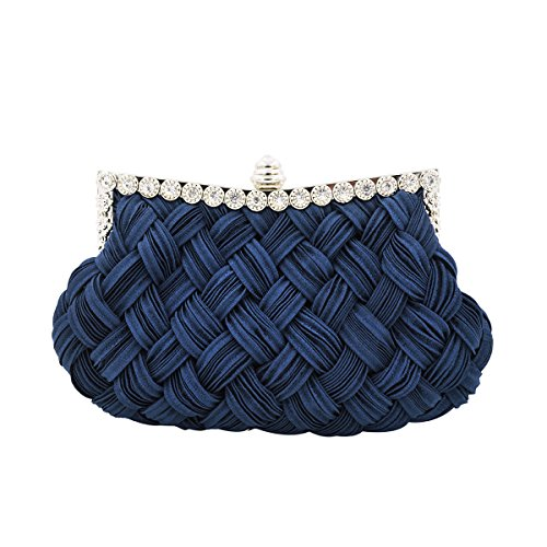Elegant Braided Pleated Glitter Rhinestone Clutch Evening Bag, Navy Blue by TrendsBlue