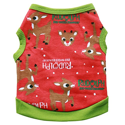 Christmas Pet Dog Puppy Clothes Cotton Deer Vest Shirt Clothes Winter Apparel Puppy Dog Jacket Small Dogs Pet Clothes For Dog Puppy Cat Sweatshirt Puppy Costume Dog Vest (Red, S) -