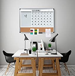 MasterVision 3-In-1 Calendar Dry Erase Planning Board, 18 x 24 Inches, Aluminum Frame (MB3507186)