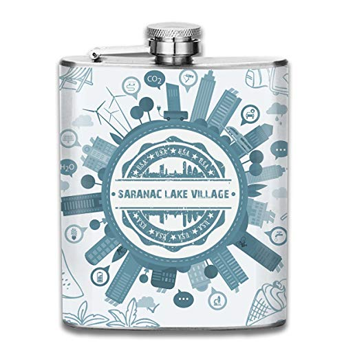 X-JUSEN Saranac Lake Village New York 7Oz Hip Stainless Steel Flask, Jacket Pocket Flask, Classic Liquor/Wine Drinking Jar
