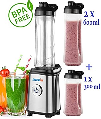Smoothie maker + 3 vasos (2 x 600 ml + 1 x 300 ml) batidora Acero ...