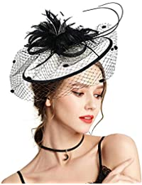 Fascinator with Headband Clip Cocktail Tea Party Feather Floral Pillbox Hat  Black c849b704d11