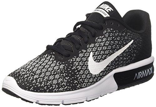 Nike Womens Air Max Sequent 2 Running Shoe Black White Dark Grey Wolf Grey Size 9