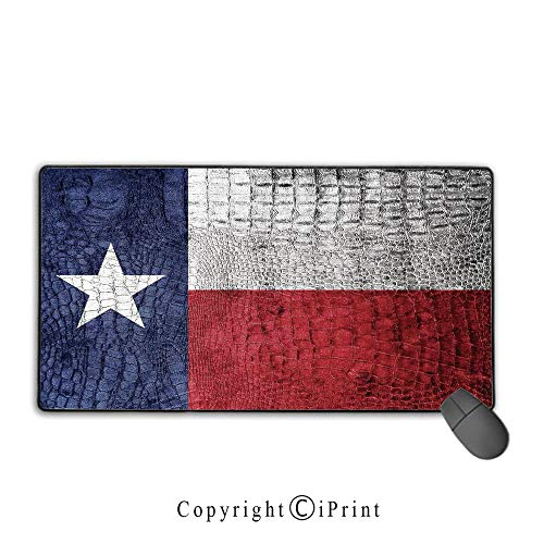 Stitched edge mouse pad,Western Decor,Texas State Flag Painted on Luxury Crocodile Snake Skin Texture Looking Patriotic Emblem Decorative,Suitable for laptops, computers, PCs, -