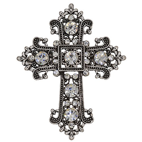 XIAOTAI Cross Rhinestone Brooch Pin for Bridal and Wedding or Party Clothing Embellishments 2.3X1.9 inches…