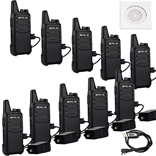 Retevis RT22 Two Way Radios License free Rechargeable Walkie Talkies 16 CH VOX Channel Lock Emergency Alarm 2 Way Radio(10 Pack) and Programming Cable