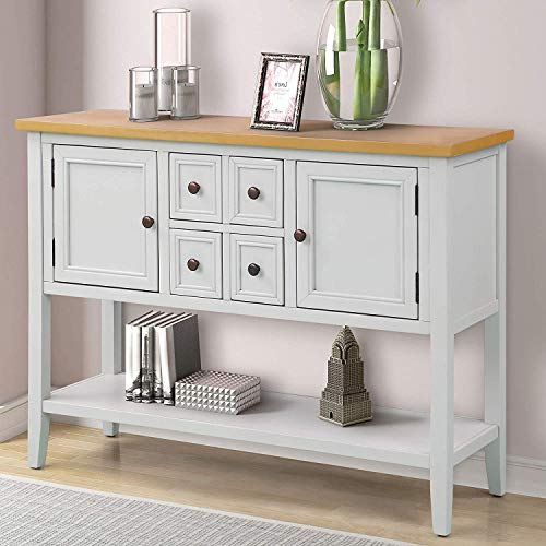 Hooseng Console Buffet Sideboard Sofa Table with 4 Storage Drawers Two Cabinets and Bottom Shelf, Ivory - Wood Ivory Buffet