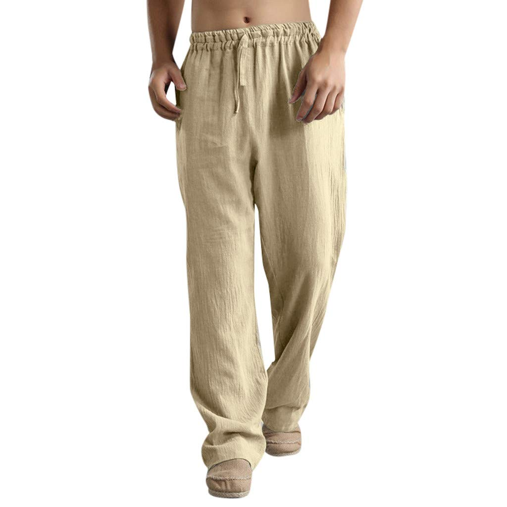 Mens Sweatpants, F_Gotal Men's Casual Plain Linen Elastic Waist Sports Running Jogger Pants Trouser with Pockets Khaki