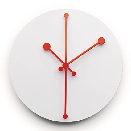 Alessi Reloj de Pared, Acero Inoxidable, Superblanco, 20.00 ...