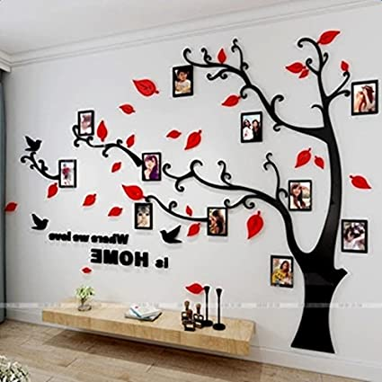 2297d24ea Beddinginn Acrylic Tree Wall Sticker with Removable Branches and Picture  Frames DIY Large Family Tree Wall