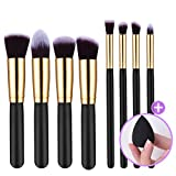 8+1 Pieces Premium Synthetic Makeup Brushes Set, Professional ElleSye Ubeauty Brush Set Powder Foundation Brush Makeup brush kit with Blender Sponge Egg (Gold)