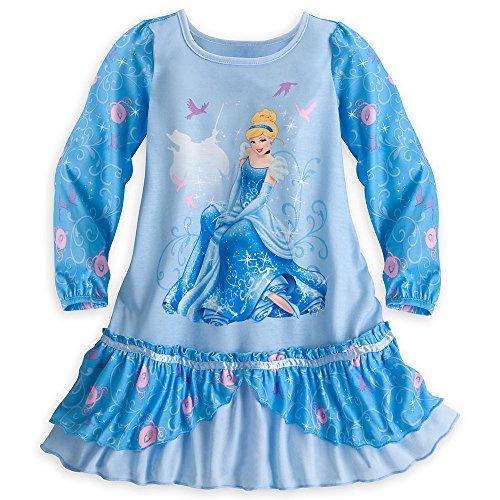 Disney Store Cinderella Long Sleeve Nightshirt Nightgown Size Small 5 - 6 (Ruffled Satin Nightgown)