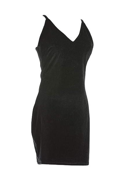 ad10bfa21f Vestido De Fiesta De Terciopelo con Cuello En V Mini Vestido Ceñido Al Cuerpo  para Mujer Negro L  Amazon.es  Ropa y accesorios