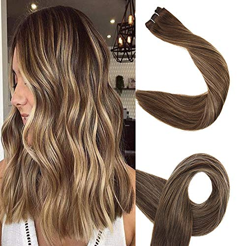 Full Shine 20 inch Balayage Hair Bundles Weft Extensions Straight Remy Human Hair Bundles Sew in Weave Extensions 100g Color #4 Medium Brown Fading to #24 Light Blonde and #4 Medium Brown