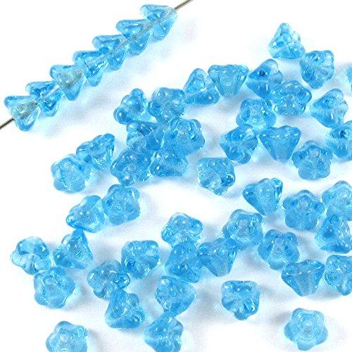 Czech Glass Baby Bell Flower Beads-AQUA BLUE 4x6mm -