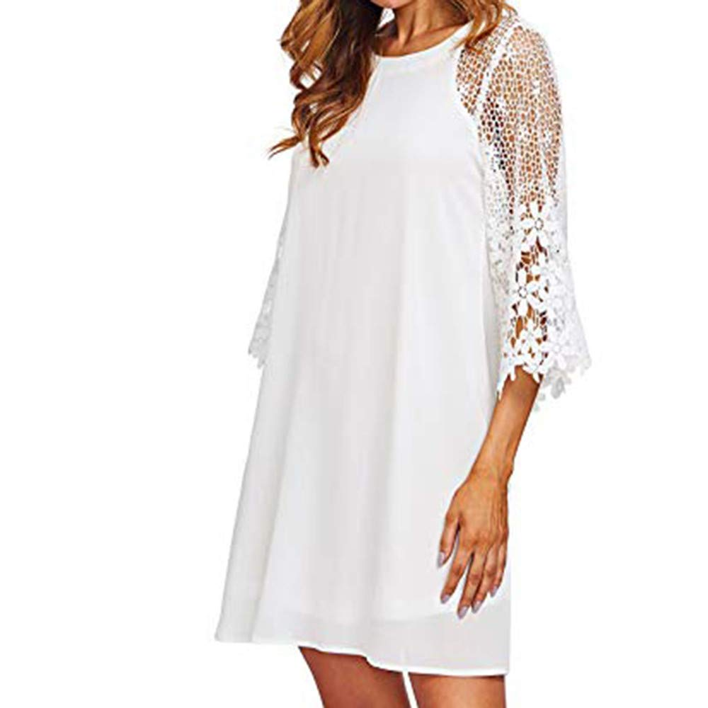 〓COOlCCI〓Women's Casual Crewneck Half Sleeve Summer Lace 3/4 Sleeve Chiffon Tunic Dress Shift Mini Dresses White by COOlCCI_Womens Clothing