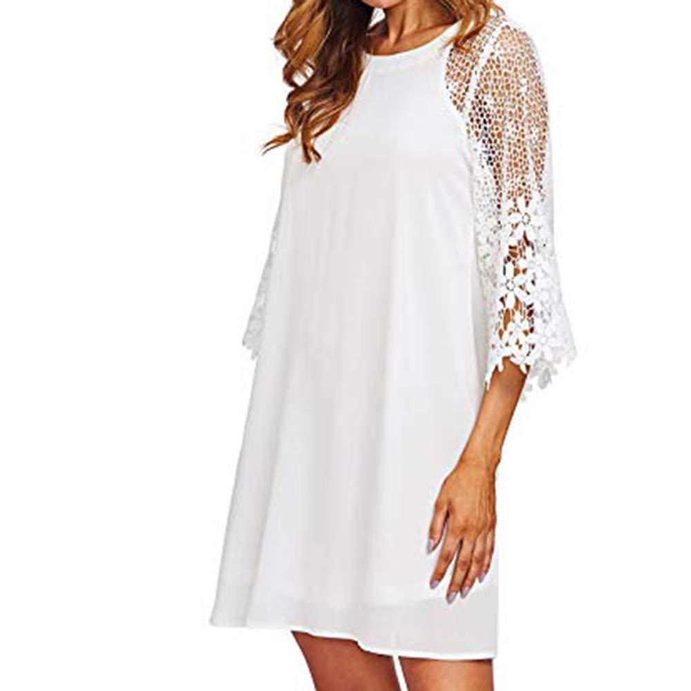 〓COOlCCI〓Women's Casual Crewneck Half Sleeve Summer Lace 3/4 Sleeve Chiffon Tunic Dress Shift Mini Dresses White