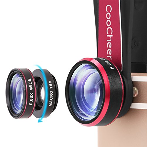COOCHEER Fisheye Camera Lens 198 Degree Clip 15x Macro Lens & 0.63x Wide Angle Lens 3 in 1 Kit Clip-On Cell Phone Camera Lenses for iPhone, Android,Tablets,Laptops-Red