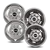 Pacific Dualies 30-1708 17'' Polished Stainless Steel Wheel Simulator Kit with 8 Lug and 5 Vent Hole for Chevy 2011-2018 GMC 3500 Truck