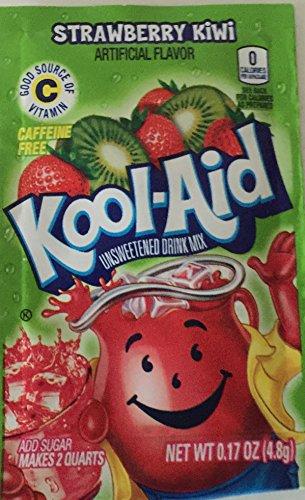 Kool-Aid Twists Soft Drink Mix - Strawberry Kiwi Unsweetened, Kosher, Caffeine Free, 0.17 oz/envelope (Pack of 15)