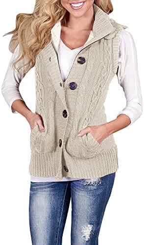 bc770a3ebd YOMISOY Womens Cardigan Sweaters Sleeveless Button Down Chunky Knit Hooded  Warm Vest with Pockets