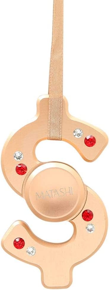 Matashi Rose Gold Hanging Christmas Tree Dollar Sign Ornament with Matashi Crystals, Christmas Decorations for Holiday Wedding Party Decoration, Tree Ornaments Ribbons Included, Shiny, Metal Finish
