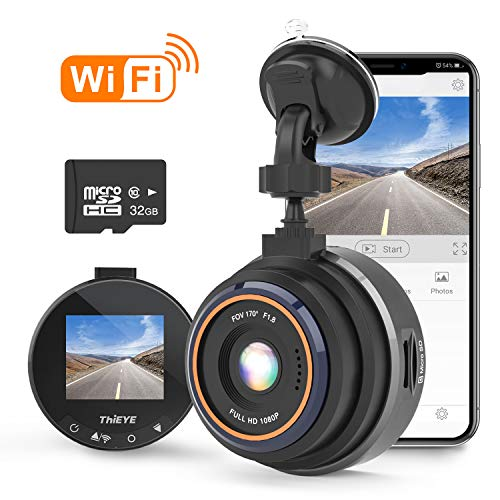 THiEYE Dash Cam WiFi, Dashcam for Car Driving Recorder 1080P FHD LCD Screen Driving Recorder, Phone App, Night Vision, Wide Angle Lens, G-Sensor, WDR, Loop Recording, SD Card Included ThiEYE