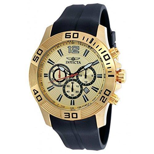 Invicta Pro Diver Chronograph Champagne Dial Black Silicone Mens Watch 20302