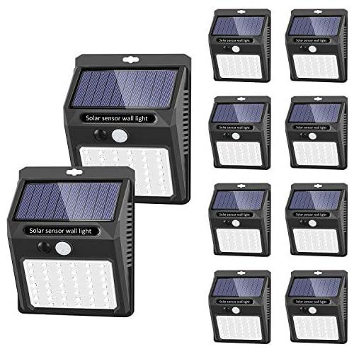 chollos oferta descuentos barato Luces solares Luces con sensor de movimiento solar para exteriores 42 LED 3 Modos SEZAC Luces de seguridad inalámbricas a prueba de agua para el garaje del jardín Camino paquete de 10