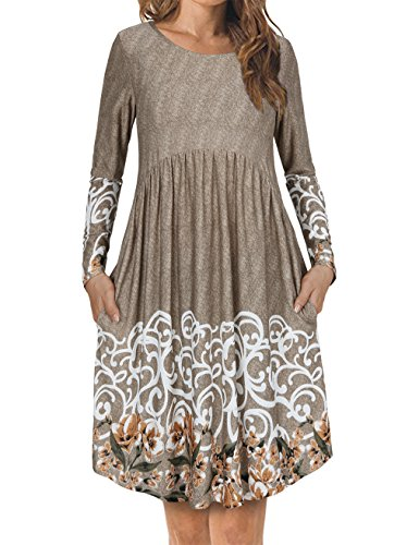 FANSIC Women's Floral Printed Long-Sleeved Round Neck Pocket Dresses Large Apricot - Narrow Waist Womens Dresses
