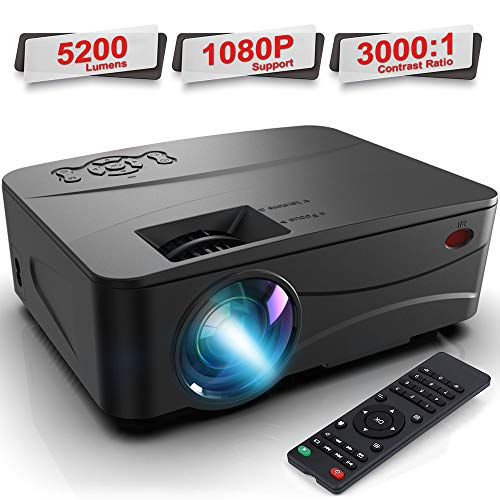 Pansonite Mini Portable Projector with 5200 Lux  and 30,000 Hour Lamp Life,Video Projector Full HD 1080P and Max.200'' Display Supported, Compatible with HDMI/VGA/AV/ USB for Home Theater Entertainmen (Best 720p Projector Under 500)