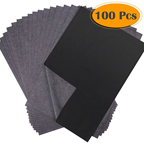 Selizo 100 Sheets Black Carbon Transfer Tracing Graphite Paper for Wood, Paper, Canvas and Other Art Surfaces (8.5 x 11 ()