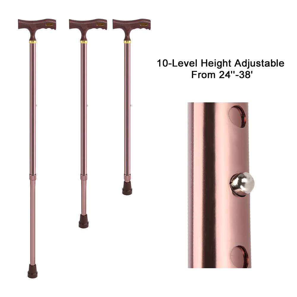 Elder Disability Safety Walking Stick 10-level Height Adjustable Anti-slip Aluminium Alloy Cane Brown