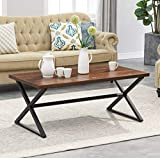 O&K Furniture Farmhouse Industrial Cocktail Coffee Table with X-Shaped Frame for Living Room and Office, Brown, 1-Pcs Review