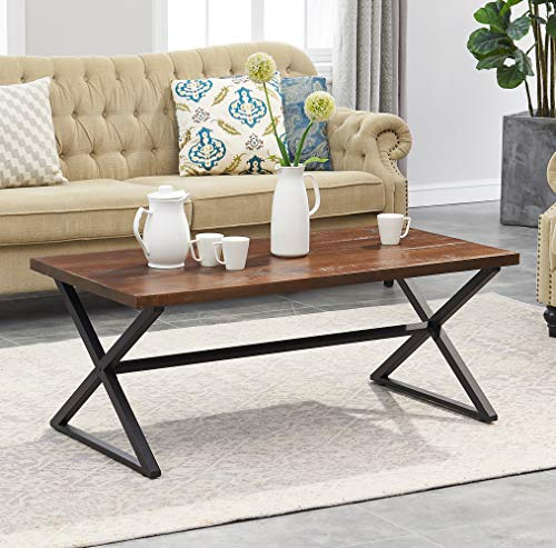 O&K Furniture Farmhouse Industrial Cocktail Coffee Table with X-Shaped Frame for Living Room and Office, Brown, 1-Pcs (Wood Farmhouse Table Frame)