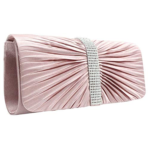 Party Lady Clutch Bridal red Wiwsi Pleated Diamante Girl Evening Handbag Satin Purse nqxAxTXRw